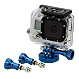 Neewer Camera Tripod Mount Kits, includes Aluminum Tripod Head Adapter with One Long Thumbscrew and Two Short Thumbscrew for GoPro HD Hero 4/3+/3/2 (Blue)