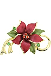 Red Poinsettia Christmas Star Flower Swarovski Crystal Pin Brooch and Pendant