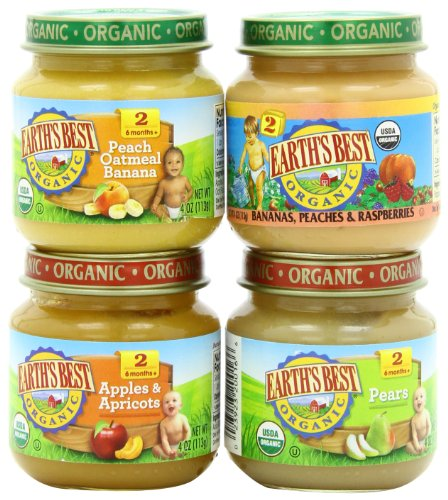 Earth's Best Organic Stage 2, Favorite Fruits Variety Pack, 12 Count, 4 Ounce Jars (Organic Baby Food Glass Jars compare prices)