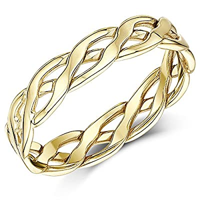 Celtic Wedding Ring Band 5mm 9ct Yellow Gold Hand Made