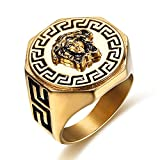 LILILEO Jewelry Stainless Steel Gold Plating Greek Mythology Medusa Sculpture Ring For Unisex Rings