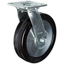RWM Casters 46 Series Plate Caster, Swivel, Thread Guard, Phenolic Wheel