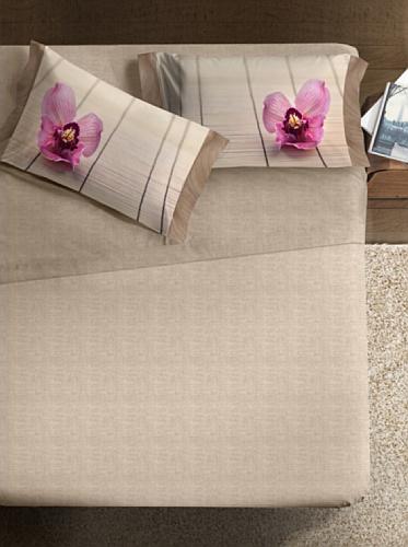 Ipersan Fine-Art, Completo letto matrimoniale 100% cotone, Disegno Zen beige/rosa