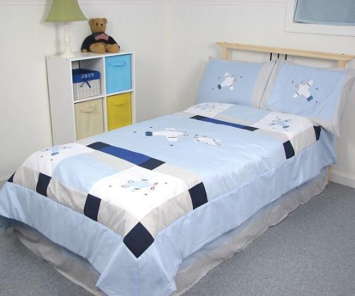 SoHo Blue Airplane Twin Kids Childrens Bedding Set 4 pcs