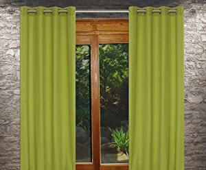 Karma 39 Faux Cotton 39 Grommet Curtain Set 54x95 In Chartreuse Green Window