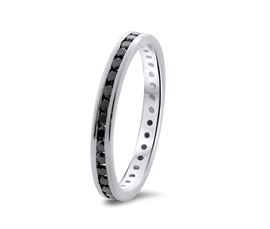 0.60 carat AAA Black Diamonds Full Eternity Wedding Ring in 9K White Gold.