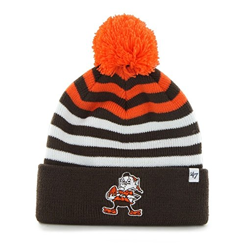 Nfl Cleveland Browns Kid'S '47 Brand Yipes Cuff Knit Hat With Pom, Brown front-65266