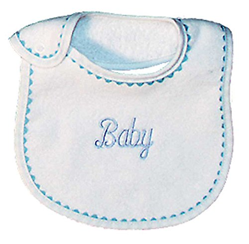 Raindrops Baby Embroidered Bib, Blue