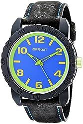 Sprout Men's ST/7011BLBK Blue Corn Resin Dial Black Cork Strap Watch