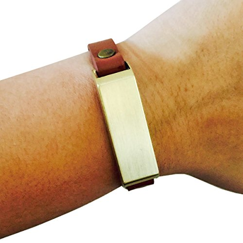 Fitbit Bracelet for FitBit Flex Fitness Activity Trackers - The KATE Single-Strap Brushed Metal and Premium Vegan Leather Buckle Fitbit Bracelet (Tan and Gold Studded Vegan Leather, (Studded Wristband Single)