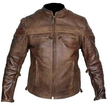 Leather Supreme Men's Retro Brown Buffalo Hide Cafe Racer Motorcycle Jacket -Brown-ST