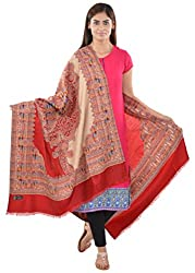 JAPROZ Women's Shawl (Beige and Red)