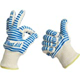 Grill Heat Aid, Heat Resistant Gloves, 932°F EN407 Certified, Thick but Light-Weight & Flexible for Oven and BBQ, 2 Gloves