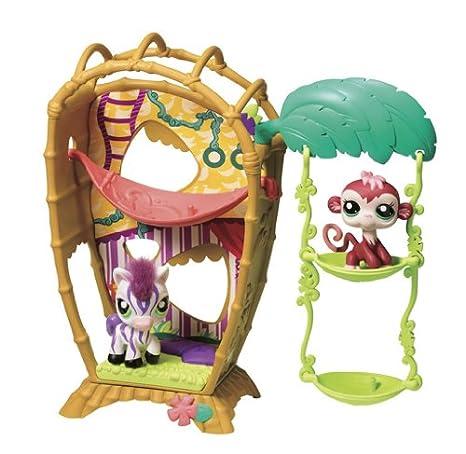 Littlest PetShop - 36968 - Mini-Poupée - Petshop Loisirs - la Cabane Jungle : Singe et Zèbre
