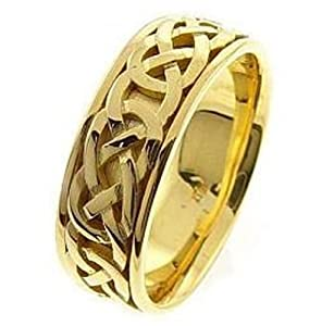 14k Yellow Gold 7.5 MM Unisex Forever Love Ring Celtic Wedding Band (4)
