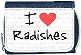 I Love Heart Radishes Denim Wallet