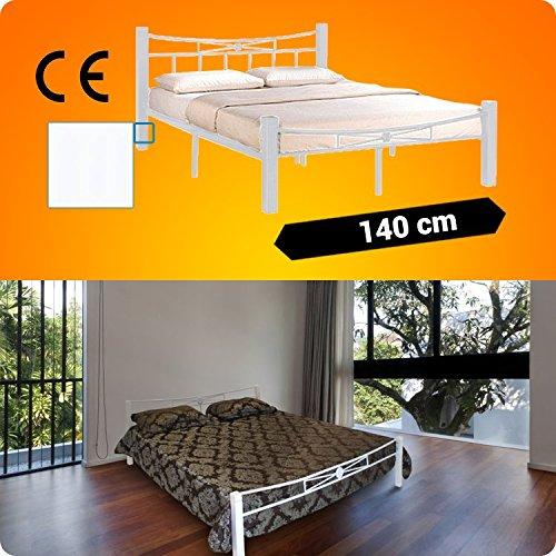 Metallbett 200x140cm mit Weiß Holzfüße + Lattenrost Schlafzimmerbett Doppelbett Metall Bett BW1.4