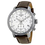 Tissot PRC 200 Chronograph White Dial Brown Leather Mens Watch T0554171601701