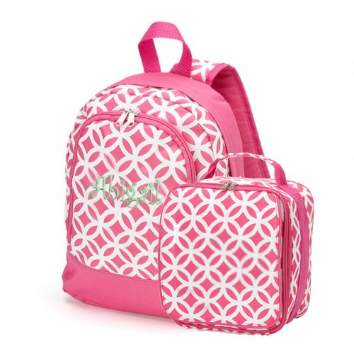 aBaby Sadie Preschool Backpack and Lunch Bag Combo, Pink, Name Abigail - 1