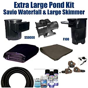 30 x 30 extra large koi pond kit 6 100 gph for Koi pond filter kits