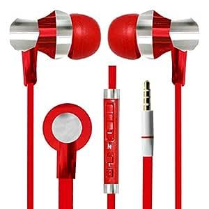 With Volume Control & MIC Function Designer Series & Comfort Fit Stereo Headset Handsfree Headphone Earphone 3.5 MM Jack for Yu Yureka Note -Red
