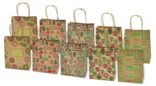Christmas Medium Gift Bags Kraft with Glitter, 10 Pack