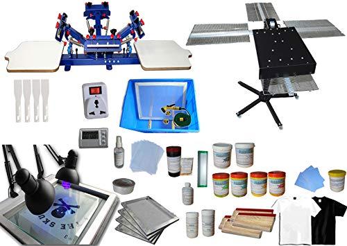 4 Color 2 Station Screen Printing Kit Desktop Screen Printing Press Equipment Material Screen Printer