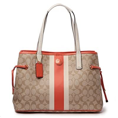 Coach 22908 Signature Stripe PVC Stripe Carryall Khaki & Orange