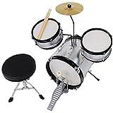3pcs Junior Kid Children Drum Set Kit Sticks Throne Cymbal Bass