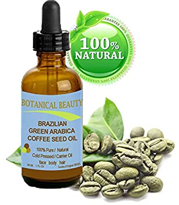 BRAZILIAN GREEN ARABICA COFFEE SEED OIL. 100% Pure / Natural / Cold Pressed Carrier Oil / Undiluted. For Skin, Hair, Lip And Nail Care. Wrinkle Reducer, Skin Lift /Tone, Anti- Puffiness / Dark Circles, Anti Cellulite. (1 Fl.oz-30ml.) by Botanical Beauty.