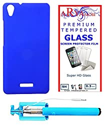 AryaMobi Hard Back Case Cover for Lava Iris X9 - Blue,Tempered Glass, Selfie Stick Aux Port