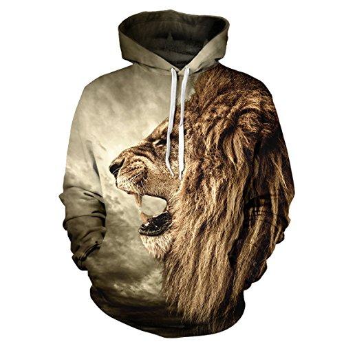 Sasairy Unisex 3D Stampato Galaxy/Animale Felpa con Cappuccio e Tasche Pullover Sweat-shirt Hoodie Multicolore Abbigliamento sportivo Anche per le donne e gli uomini