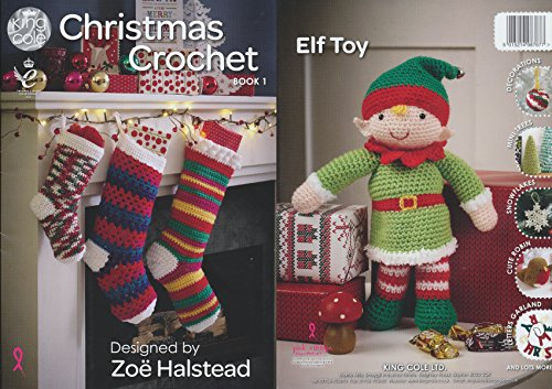 King Cole Christmas Crochet Book 1 - Festive Xmas Decorations Advent Calendar Stocking Patterns