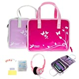 Ultimate Addons Girls Handbag Value Bundle for LeapFrog LeapPad Ultra, including Travel Handbag, Headphones and Screen Protectors (Violet)