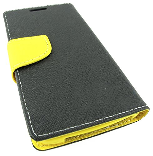 myLife Gorilla Black + Bright Yellow {Simple Design} Faux Leather (Multipurpose - Card, Cash and ID Holder + Magnetic Closing) Folio Slimfold Wallet for the LG G2 Smartphone (External Textured Synthetic Leather with Magnetic Clip + Internal Secure Snap In Closure Hard Rubberized Bumper Holder)