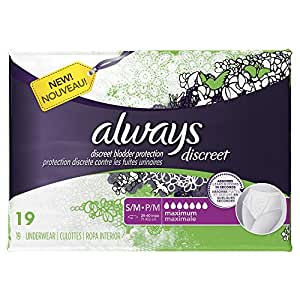 Discreet, Incontinence Underwear, Maximum Absorbency, Small/Medium, 57 Count
