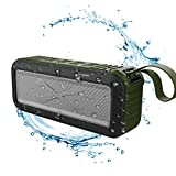 CakFun Sport Outdoor Portable Waterproof Wireless NFC Bluetooth Speaker 4.0 with Fm Radio, Built-in Mic, 2000mah Rechargeable Battery 10 Playing Hours - Army Green