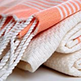 Bohemian Bamboo Pestemal with Orange Stripes on Ecru . High Quality Bamboo Turkish Bath Towel . Quality Bamboo Turkish Hammam Pestemal. Authentic Turkish Pesthemal.