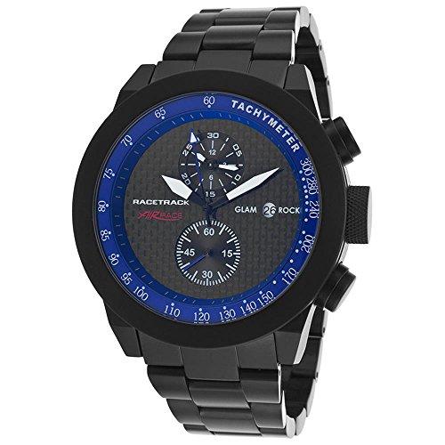 Glam Rock Racetrack Reloj de hombre cuarzo 48mm cronógrafo caja de aluminio dial negro GRT29115F-BR