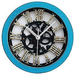Grazing 5 Metal Gearwheel Roman Numerals Vintage Imitation Wood Non Ticking Sweep Silent Round Desk Travel Alarm Clock (Gearwheel, Blue)