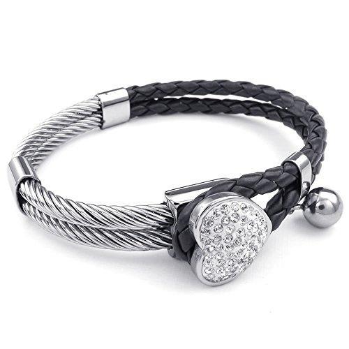 Konov Jewellery Womens Leather Stainless Steel