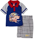 Kids With Character Boys 2-7 Two Piece Cars Plaid Short Set Blue