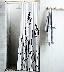 Water Repellent Fabric Shower Curtain Wheat Spring Branches Print Charcoal Gray And