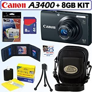 Canon PowerShot A3400 IS 16.0 MP Digital Camera with 5x Optical Image Stabilized Zoom (Black) + 8GB Accessory Kit
