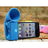 Silicone Horn Stand Trumpet Holder Amplifier Loudspeaker For iPhone 5 5S 5C No external power (Blue)