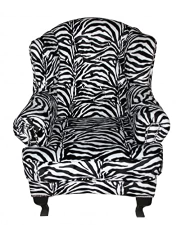 Casa Padrino Limited Edition Designer Chesterfield wing chair Zebra - Club Furniture