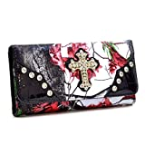 Western Camo Print Rhinestone Bling Cross Accent Wallet With Checkbook - Red/Multi Color