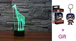 New arrival 3D Bulbing Light ton LED lamp 7 Colors Change Kids Room Art Sculpture Lights Produces Unique Lighting Effects and 3d Visualization gift for boys girls kids--giraffe
