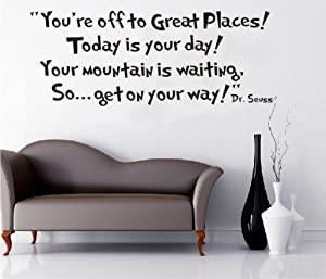 Tarmader You're off to Great Places Wall Vinyl Sticker Decals Decor Art Bedroom Design Mural