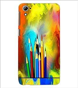 PrintDhaba Colour Pencils D-5847 Back Case Cover for HTC DESIRE 826 (Multi-Coloured)